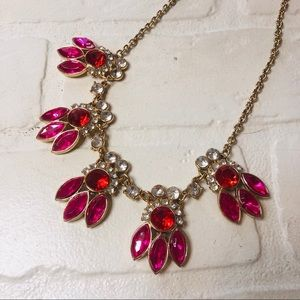 Red Pink and Gold Statement Necklace